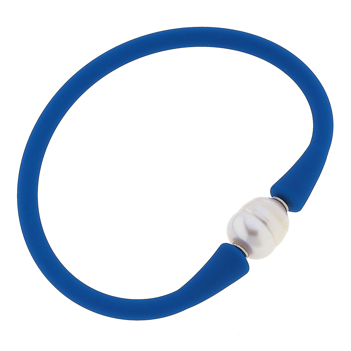 Bali Freshwater Pearl Silicone Bracelet in Blue