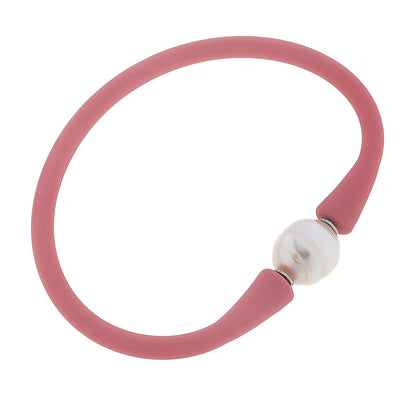 Bali Freshwater Pearl Silicone Bracelet in Pink