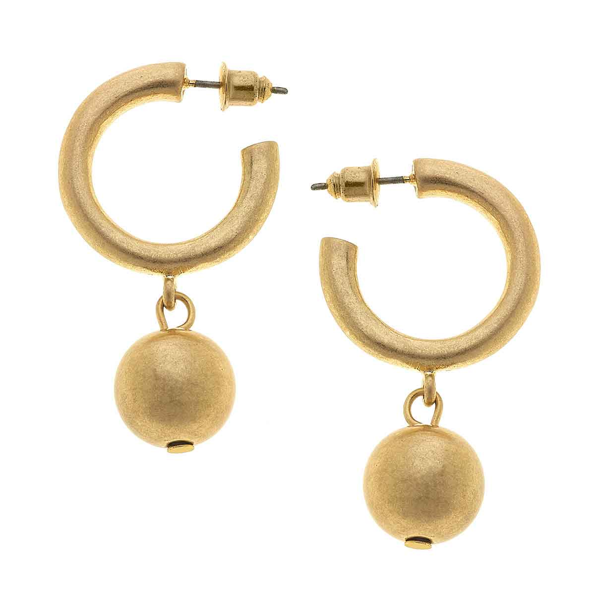 Beth Drop Hoop Earrings in Worn Gold