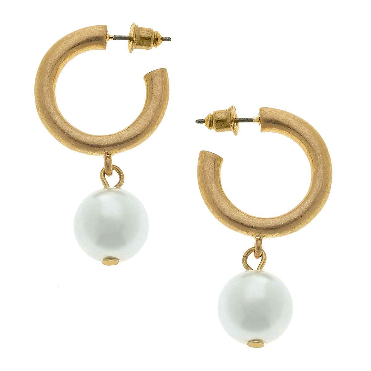 Beth Pearl Drop Hoop Earrings in Ivory