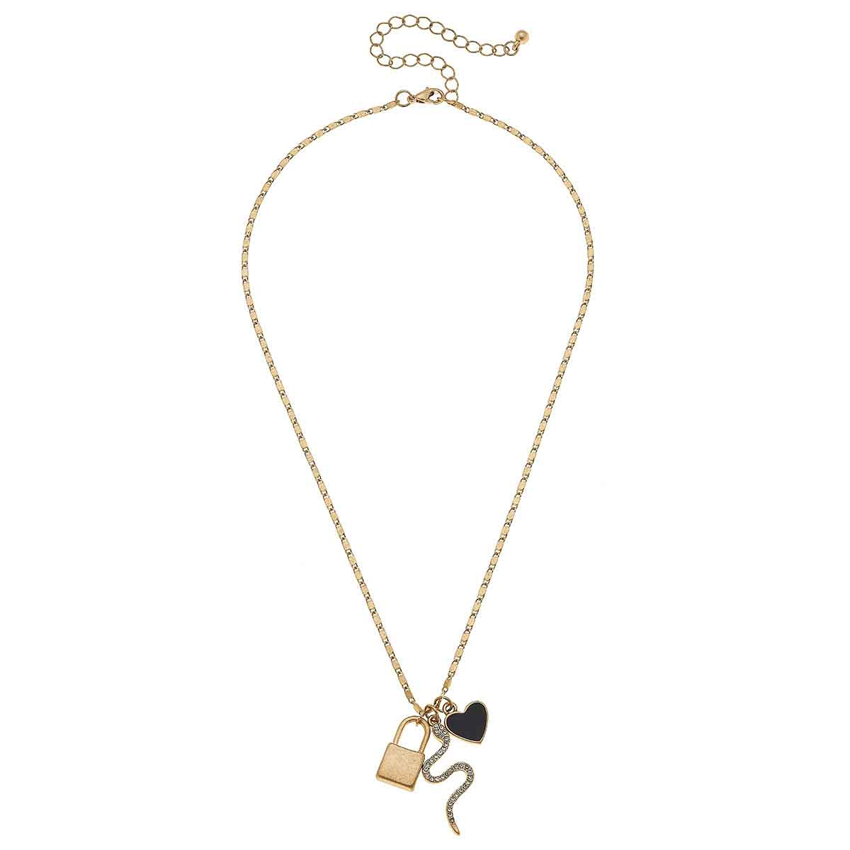Brinkley Charm Necklace in Worn Gold