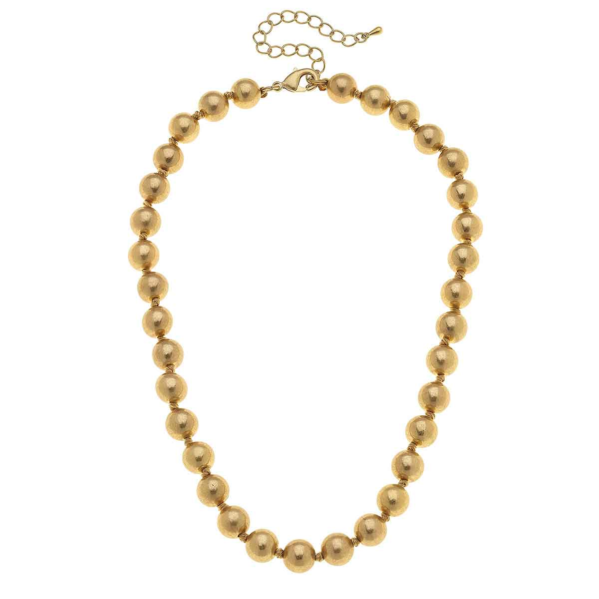 Chloe Beaded Necklace in Worn Gold