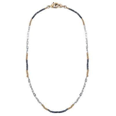 Devereaux Beaded Glass Mask Necklace in Grey - 20""
