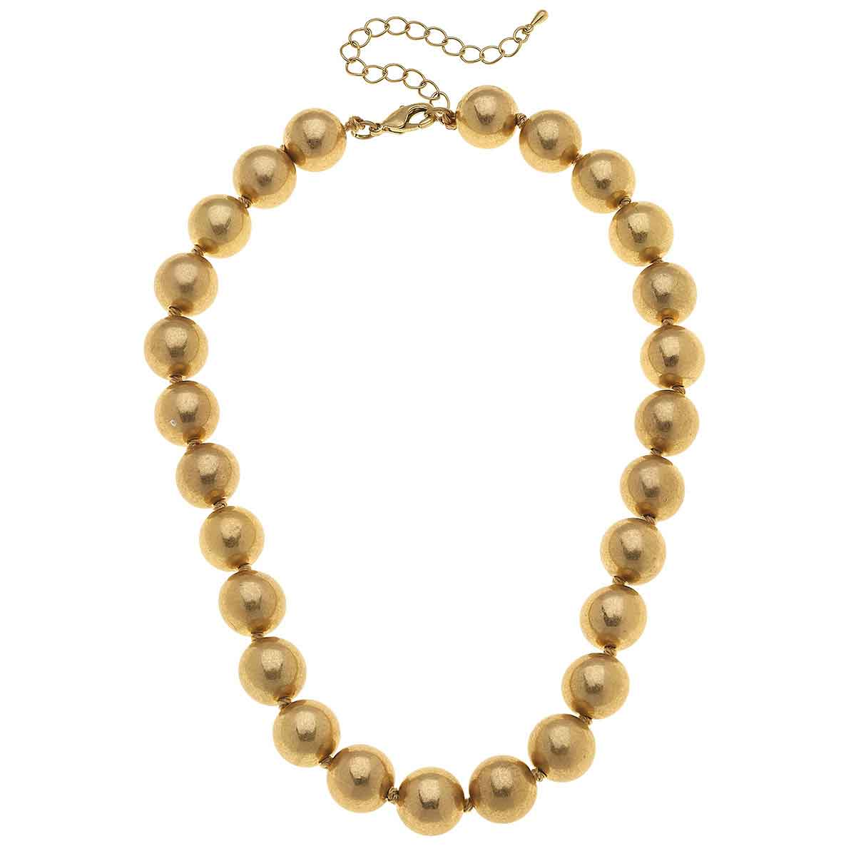 Eleanor Beaded Necklace in Worn Gold