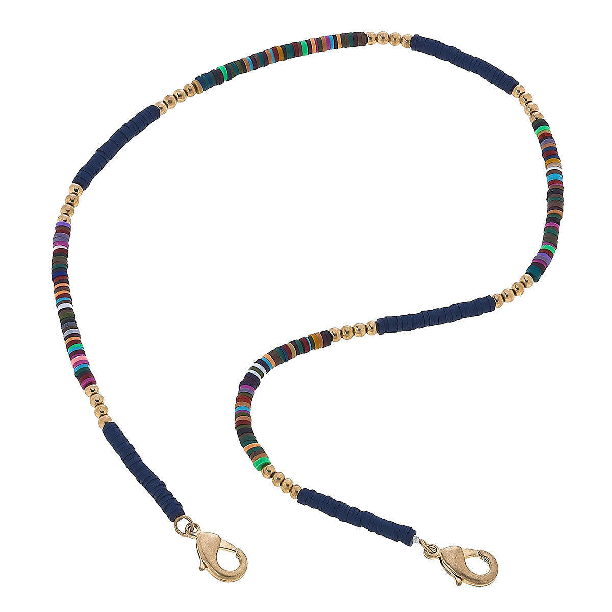 Emberly Color-Block Polymer Clay Mask Necklace in Autumn Multi & Navy - 20""