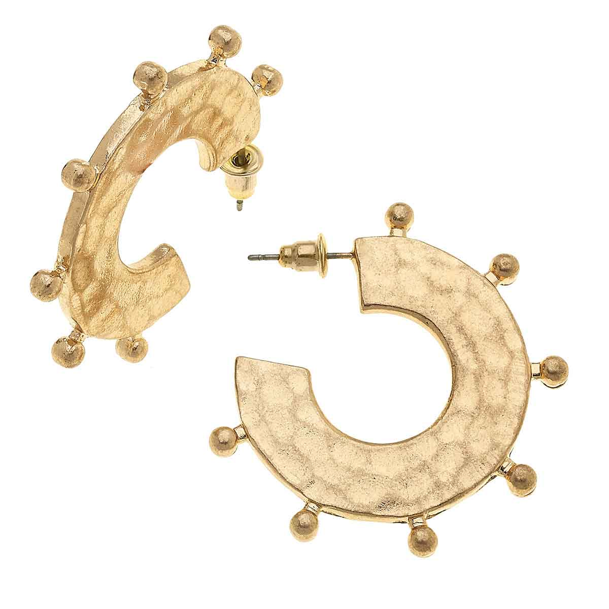 Fiona Statement Hoops in Worn Gold