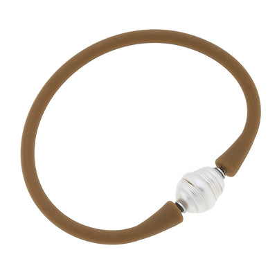 Bali Freshwater Pearl Silicone Bracelet in Cocoa
