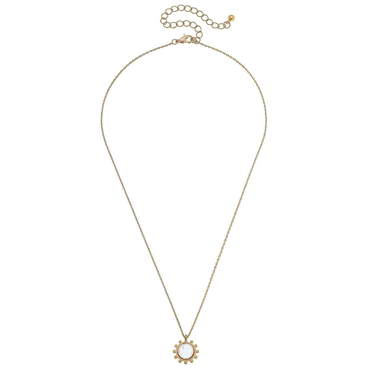 Julia Coin Pearl Necklace in Worn Gold
