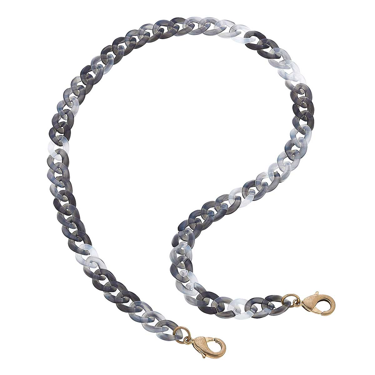 Legacy Resin Curb Chain Mask Necklace in Grey - 20""
