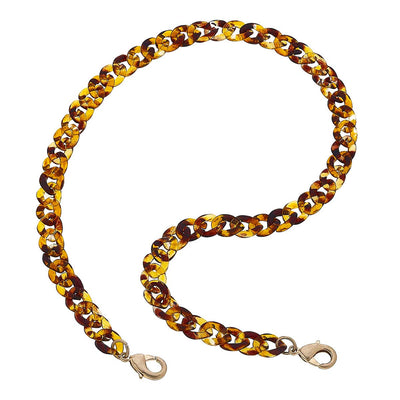 Legacy Resin Curb Chain Mask Necklace in Tortoise - 20""