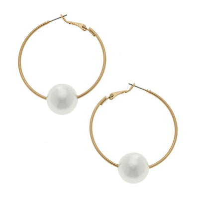 Lizzie Threaded Pearl Hoop Earrings in Ivory