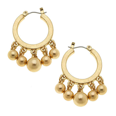 Lottie Hoop Earrings in Worn Gold