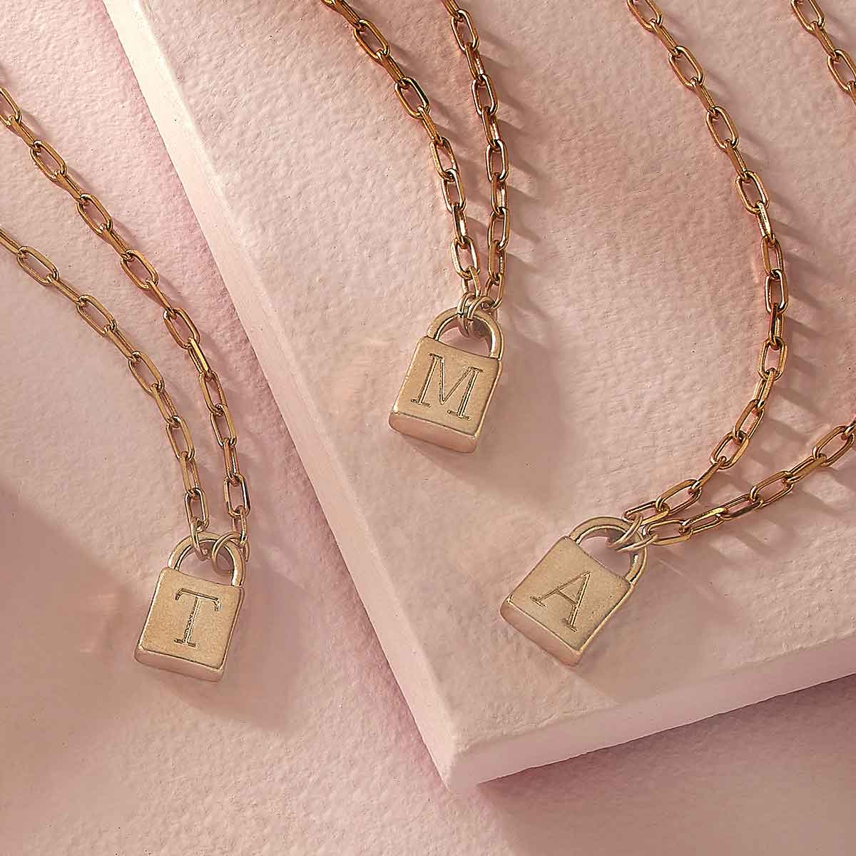 Kinsley Padlock Initial Necklace in Worn Gold | Available in 12 Different Letters