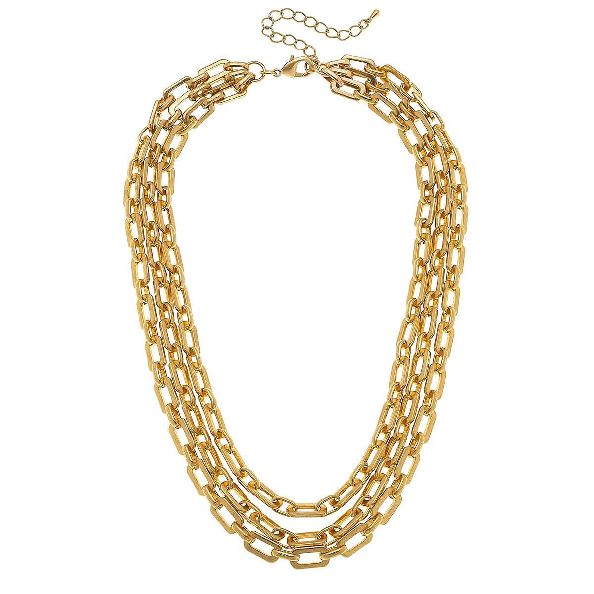 Reese 3-Row Layered Chain Necklace in Worn Gold