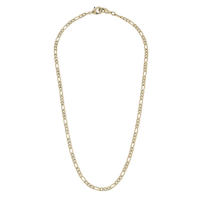 Soleil Figaro Chain Mask Necklace in Worn Gold - 20""