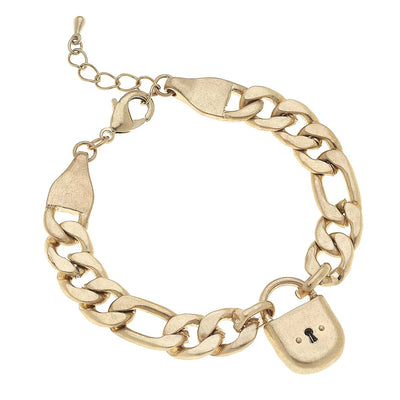 Whitney Padlock Chain Bracelet in Worn Gold