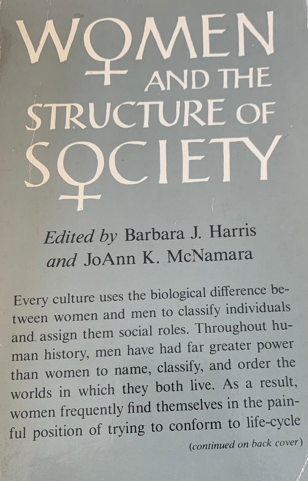 Women and the Structure of Society - Barbara J Harris