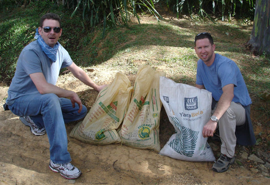 Scott and Ryan's results after one hour of picking at La Minita.