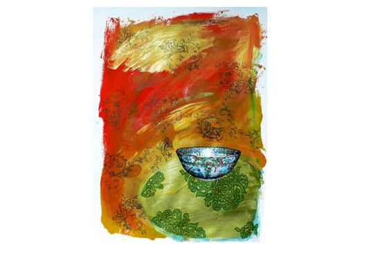 Illustration: Chinese bowl on Indian Table Cloth #4 by Dana Squires