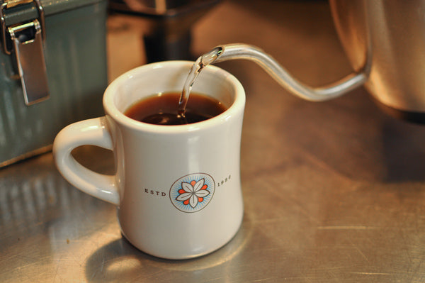 water is added to the mug containing the AeroPress coffee extract to dilute it