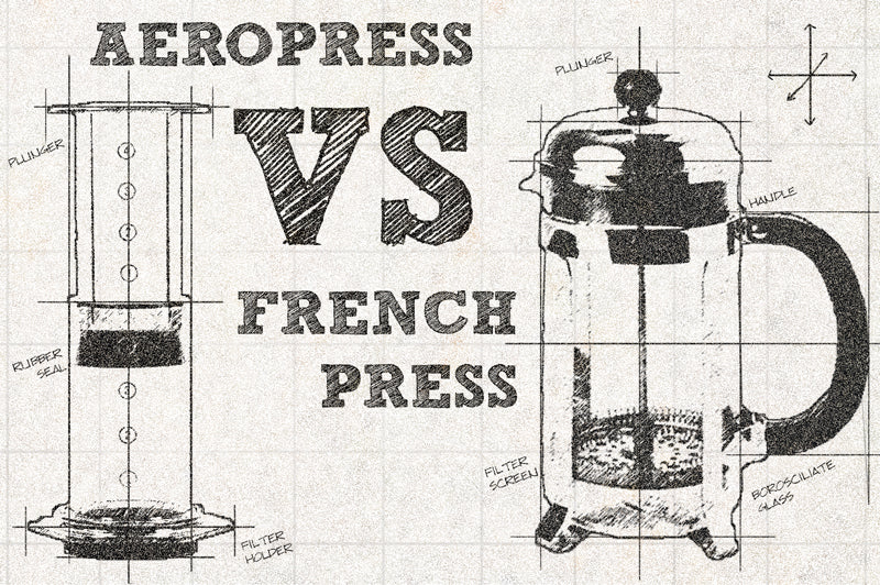 Technical sketch comparing French Press and AeroPress