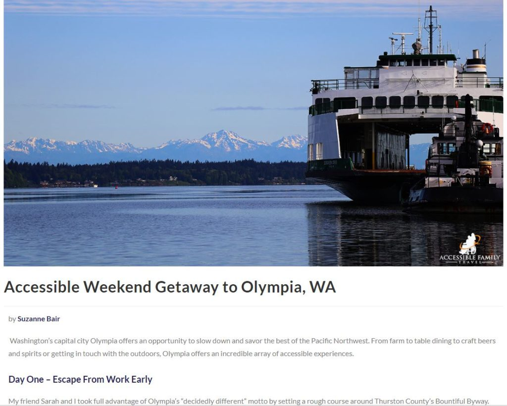 Excerpt from Accessible Family Travel's Olympia Getaway Article