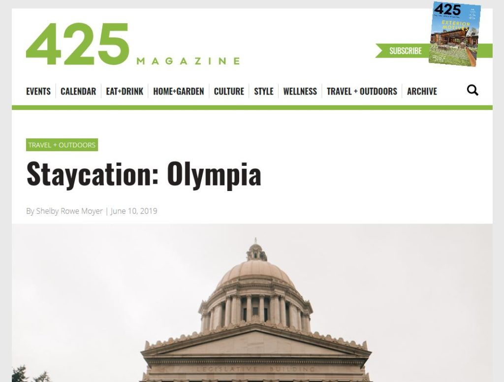 A screenshot of the header from the 425 Magazine article about Visiting Olympia