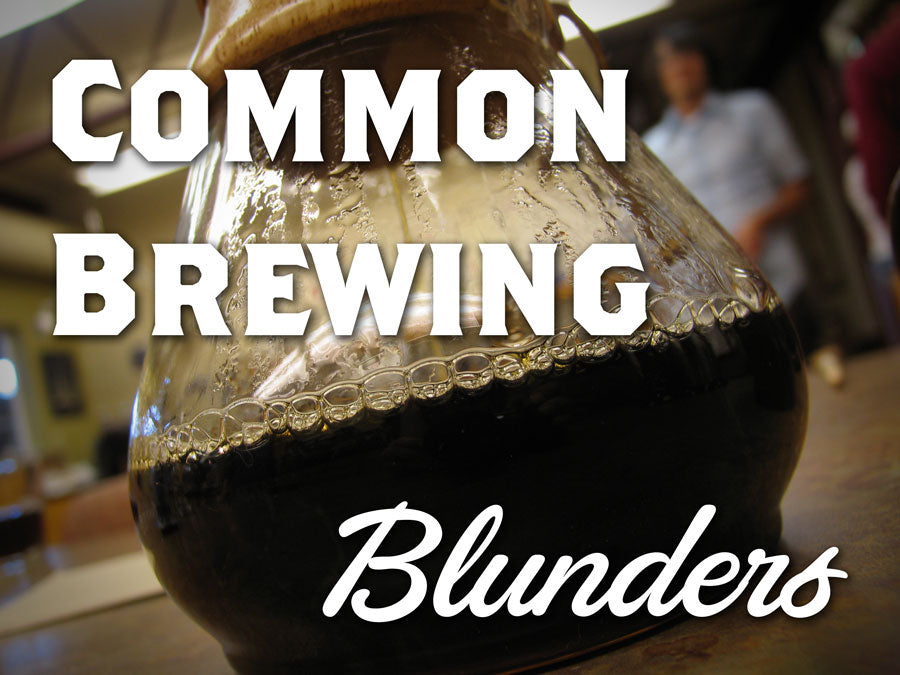 Brewed Coffee in a Chemex with the text Common Brewing Blunders overlaid in the center
