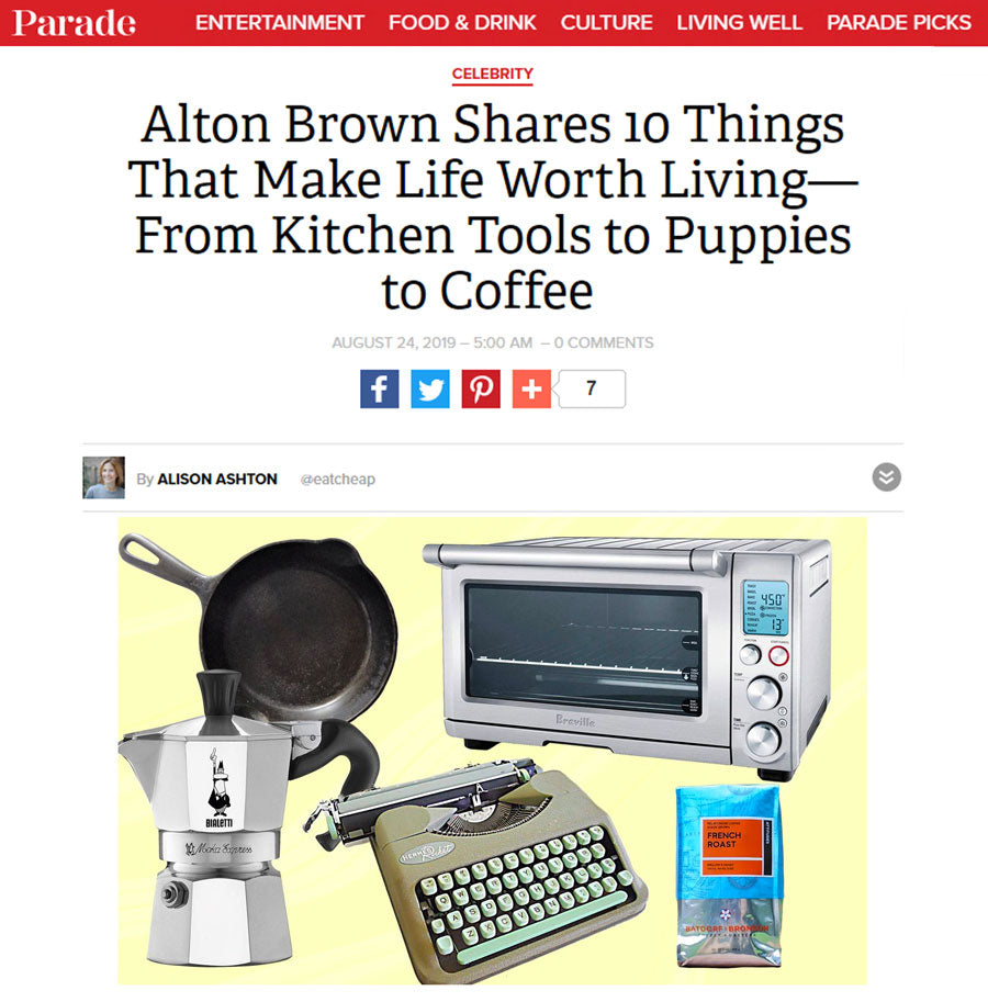 A Screenshot of Parade Magazine's Website featuring Alton Brown's 10 Things That Make Life Worth Living