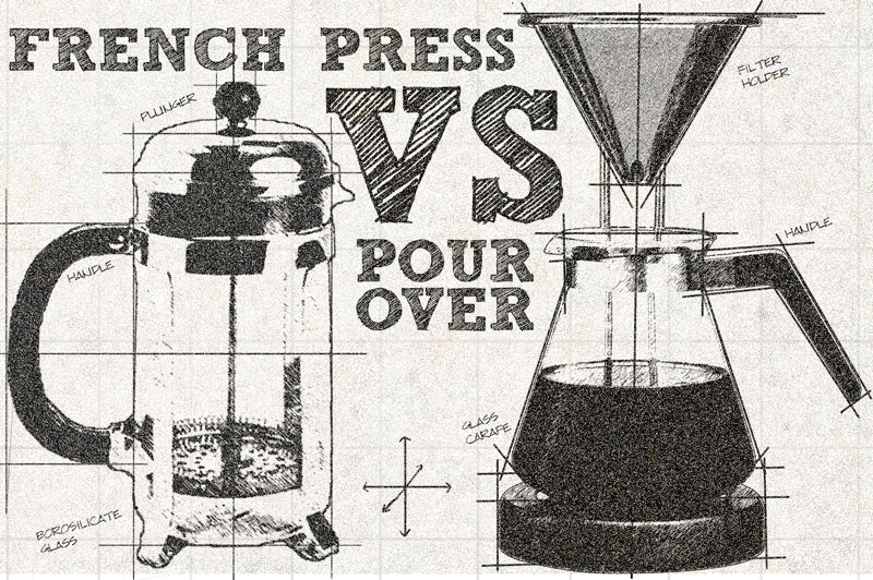 Sketch pitting the French Press coffee maker against Pour Over brewers