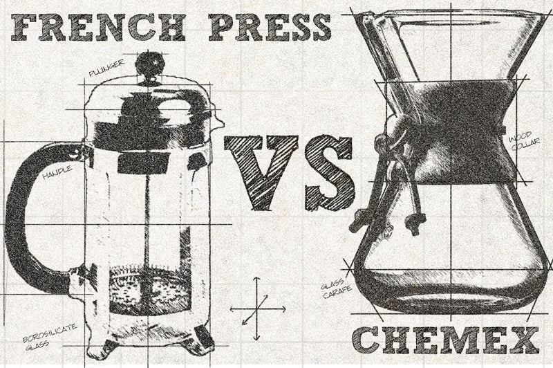 Technical drawing depicting French Press VS Chemex