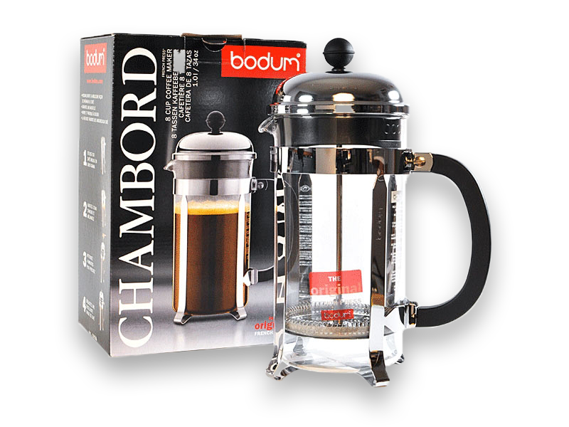 A photograph of the Bodum Chambord French Press displayed alongside it's packaging.