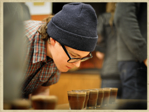 Coffee tasting, coffee cupping, palate development,  coffee evaluation, tasking skills, tasting practice, triangle test, duo-trio test, wet sniff