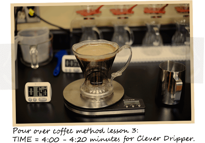 chemex, Clever Dripper, COFFEE BREWING, HOME BREWING, POUR OVER COFFEE, SINGLE SERVE COFFEE, TUTORIALS - Clever Dripper Steep Time