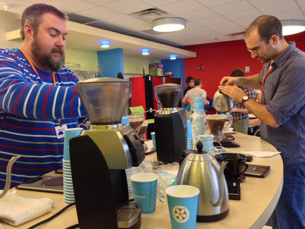 brewing up coffee for Cartoon Network staff