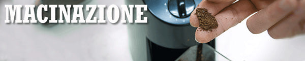 a thin slice of a closeup image of a Baratza virtuoso burr grinder overlaid with the text Macinazione