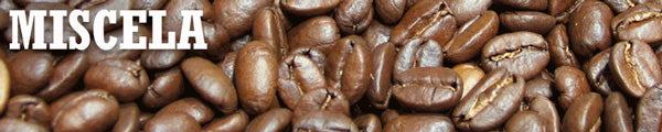 a thin slice of a closeup image of coffee beans with the word Miscela overlaid on top