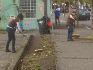 Melissa & Jim Cleaning up Downtown Olympia
