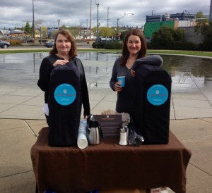 Tanya & Jenya Serving Coffee to Earth Day Cyclists!