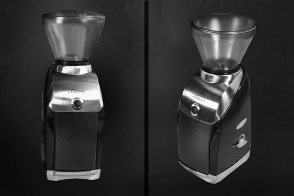 a diptic showing the front and side of a Baratza Virtuoso against a dark background