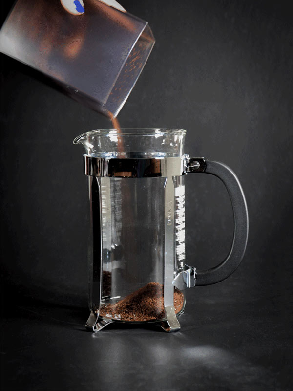 How to use a French Press - A photograph of coffee grounds being poured into a French Press.