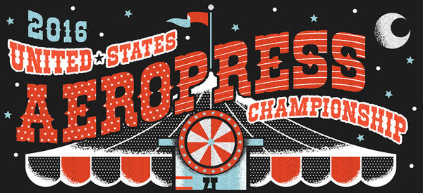 The heading of a poster advertisment reads 2016 United States AeroPress Champsionship