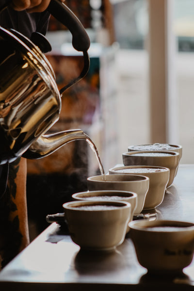 Boiling water is poured from a kettle into a row of coffee mugs.
