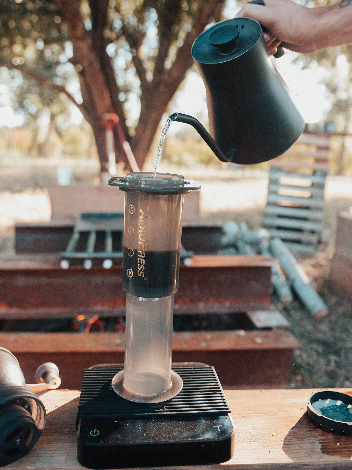 Pouring water into inverted AeroPress