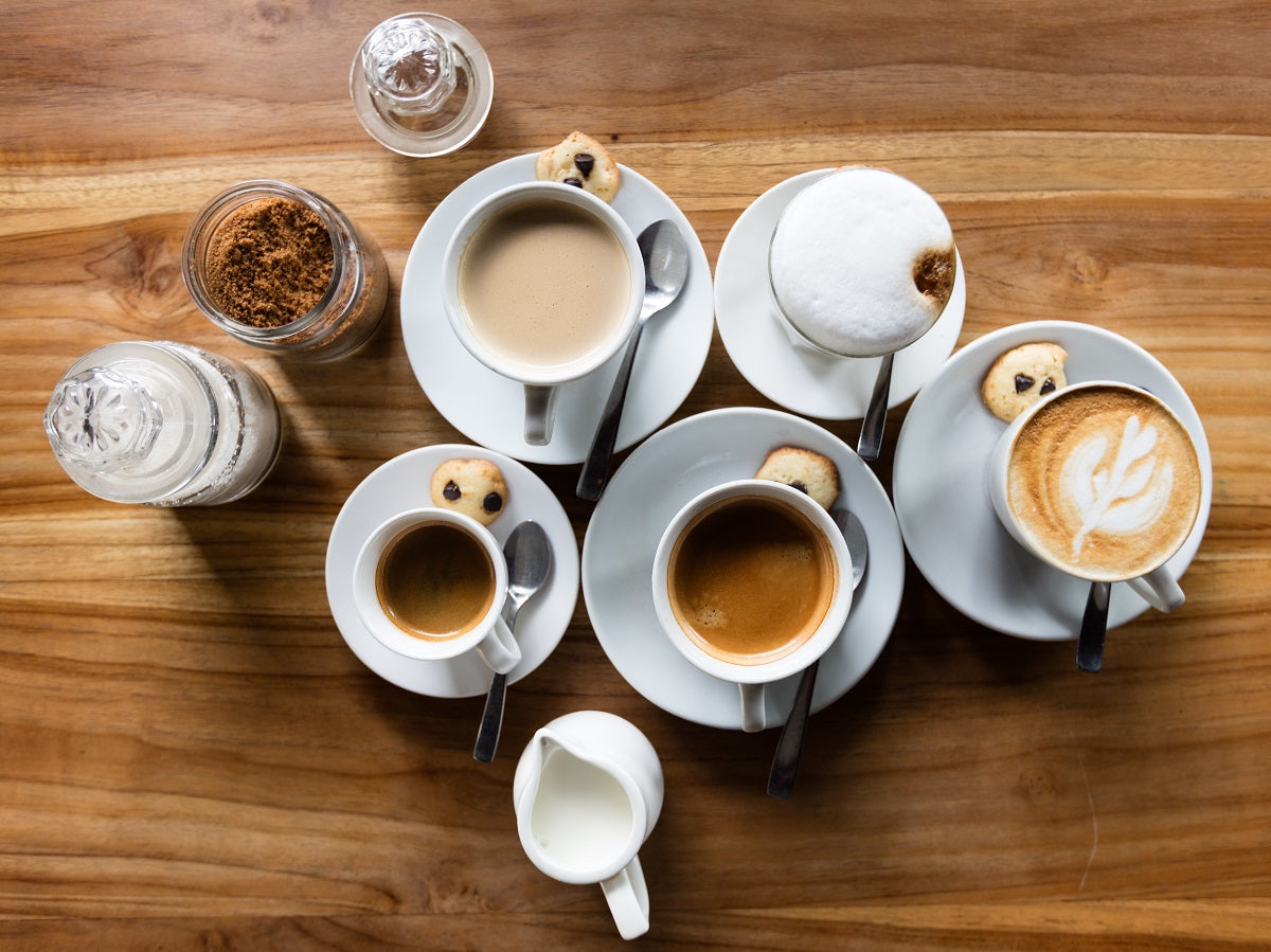 a variety of espresso-based drinks