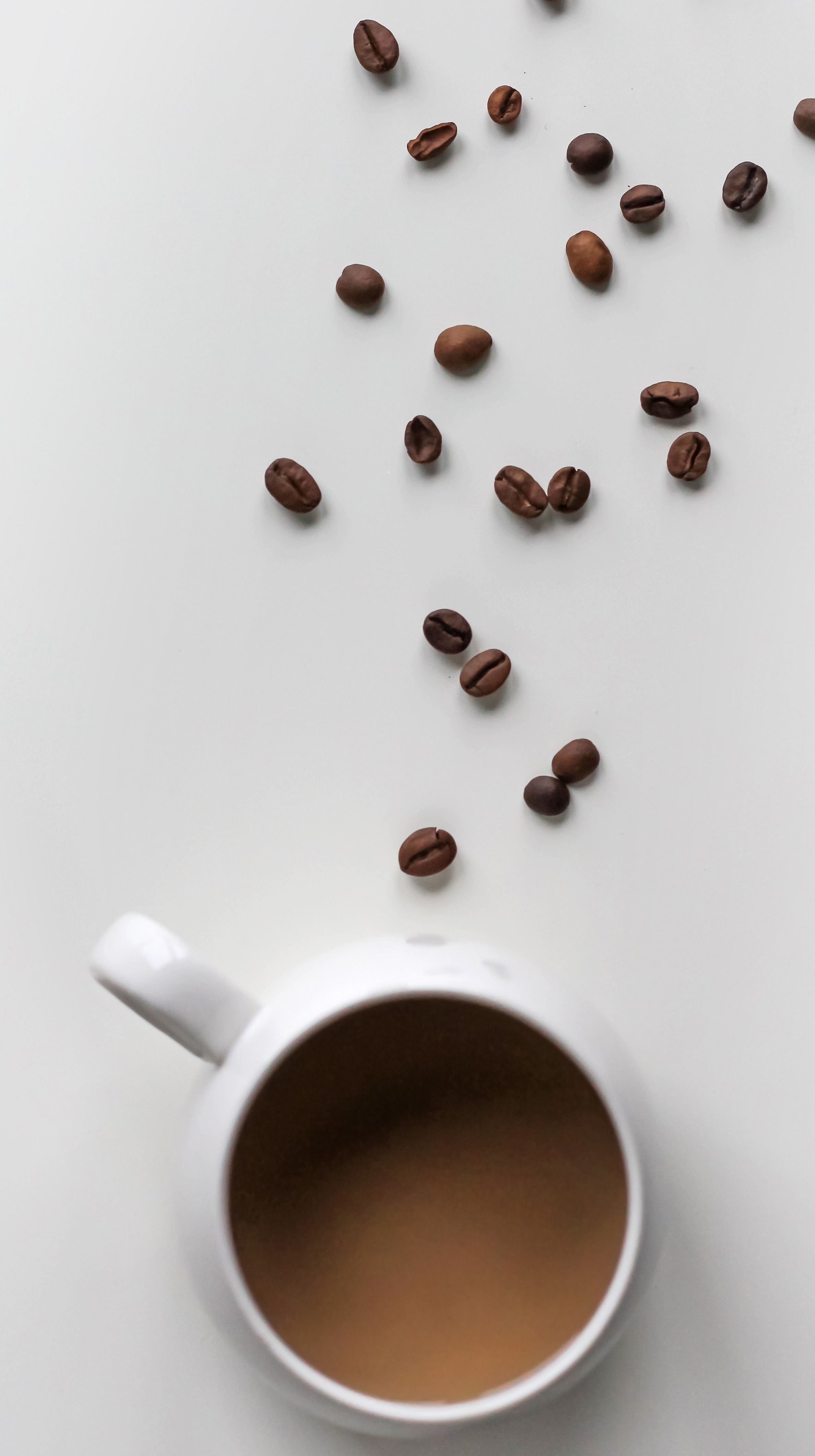 coffee beans making a line from cup of coffee