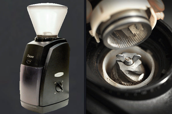How to Choose a Coffee Grinder - Side by side photos of the burrs of an electric burr grinder, and a full-view of burr grinder appliance