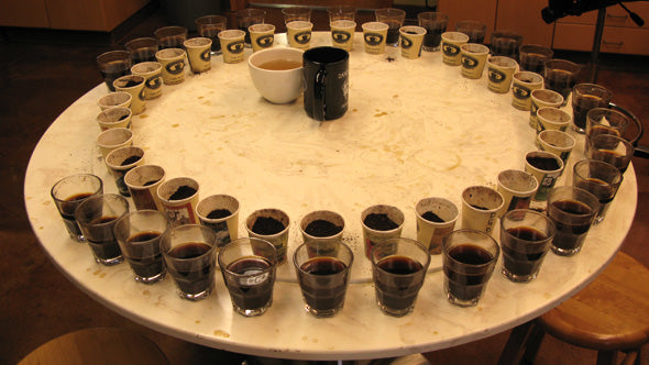 a circular lazy-suzan cupping table completely covered in shot glasses of coffee sits empty at the end of a day's cupping