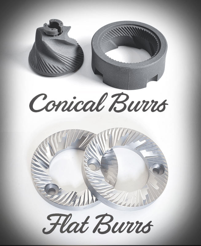 How to Choose a Coffee Grinder - A photograph showing a set of ceramic conical burrs and a set of steel flat burrs, illustrating the differences