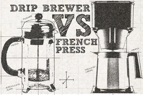 A technical drawing of a French Press vs Drip Coffee Brewer